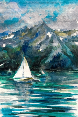 Zomer motief-zeilboot op het meer met bergen op de achtergrond aquarel geschilderd Stockfoto