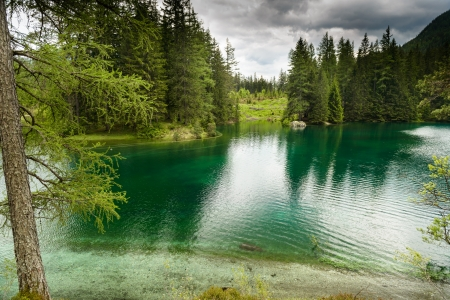 Landscape with mountains and turquoise lake-Gruener See,Styria,Austria   Standard-Bild
