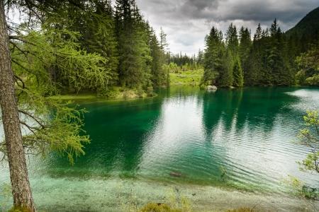 bosque con nieve: Paisaje con las monta�as y el lago turquesa-Gruener See, Estiria, Austria Foto de archivo