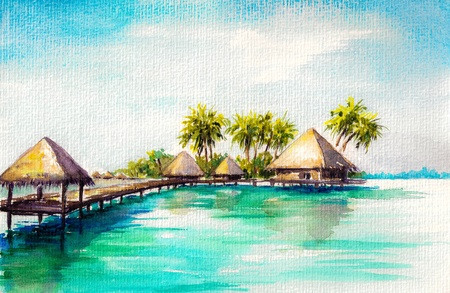 Over water bungalows in blue sea, watercolor painted