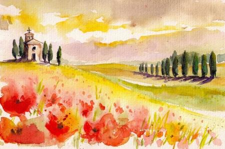 Landschap met cipressen, klaprozen en kleine kerk aquarel geschilderd Stockfoto