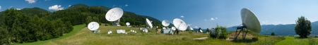 Panorama photo of antennas on the earth station Aflenz ,Styria,Austria   Stock Photo