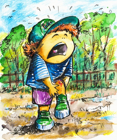 hurting: Small boy crying after hurting his knee Picture I have created with watercolors
