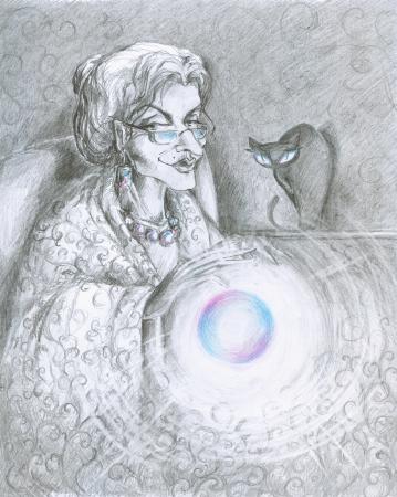 Ilustraci�n de hadas con la bola m�gica y el gato en el fondo de imagen que he creado con el l�piz