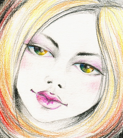 woman profile face: Beautiful girl with rainbow eyes Picture I have created myself from imagination with colored pencils   Stock Photo