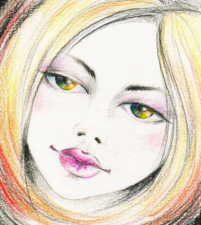 visage femme profil: Belle fille avec des yeux arc en ciel Image Je me suis créé à partir d'imagination avec des crayons de couleur
