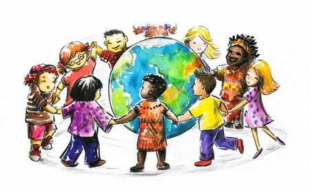 Children of different races hugging the planet Earth  I have created it myself with watercolors photo