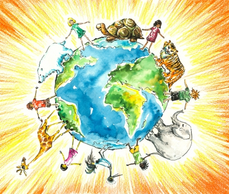 Children and animals around the earth Picture  created with watercolors and colored pencils