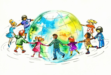 fiend: Children of different races hugging the planet Earth  I have created it myself with watercolors Stock Photo