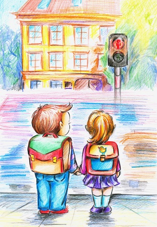 Hand painted illustration of children who waiting on green light  illustration