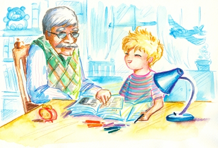 Grandfather helping his grandson with homework Picture created with watercolors  Stock Photo