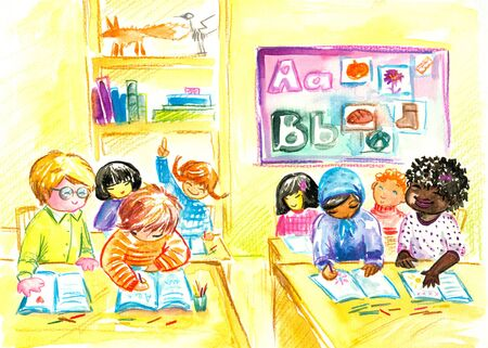 Children in classroom Picture created  with watercolors  photo