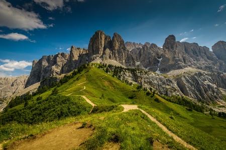 gardena: Italy Dolomites moutnain at summer -  Passo Gardena