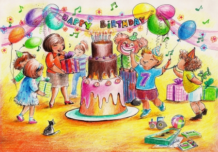 Birthday party-children playing around big birthday cake Picture created with colored pencils  photo
