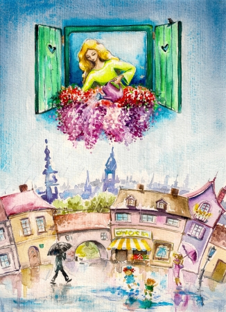 germinate: Lady Nature watering in summer day her flowers on a window Picture created with watercolors
