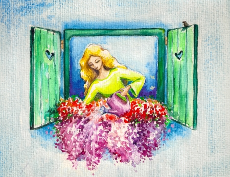 germinate: Young lady watering her flowers on a window Picture created with watercolors