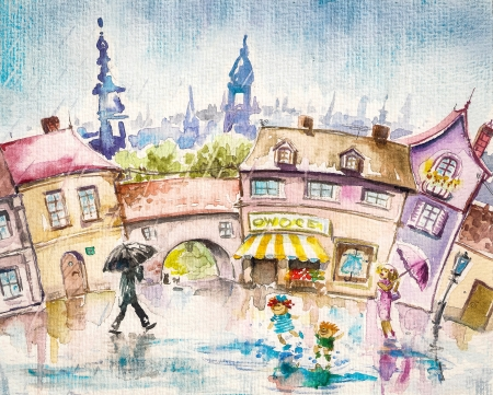 rainy season:  City scene-people in the town square at summer rain Picture created with watercolors