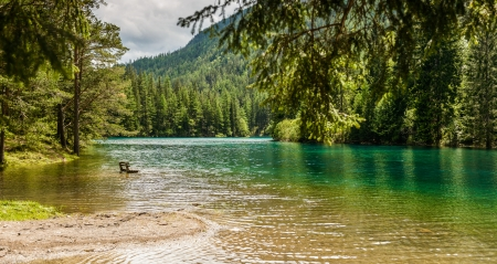 Landscape with mountains and turquoise lake-Gruener See,Styria,Austria