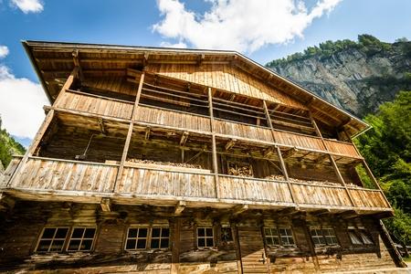 Big wooden house full of wood inside