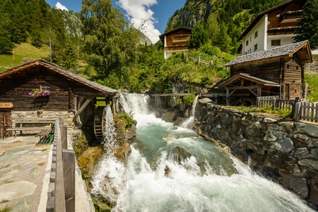 gristmill: Summer landscape with mill on wild river, Tirol, Austria