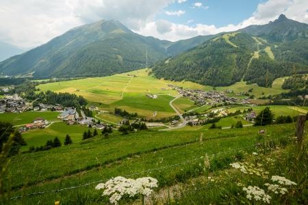 stria: Summer landscape with fields and mountains--Kals am Grossglokner,Austria  ,Styria,Au stria