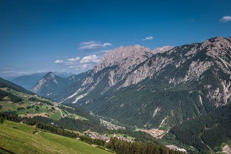 osttirol: Summer landscape with green field and mountains -Lienz Dolomiten,Austria