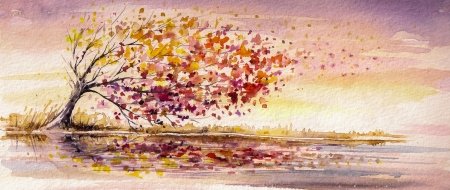 Autumn tree on a wind Picture created with watercolors