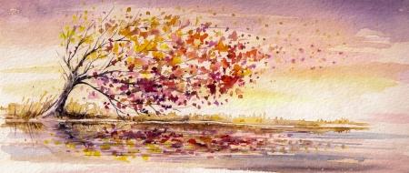 �rbol del oto�o en una imagen de viento creado con las acuarelas Foto de archivo