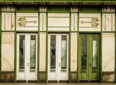 Three white doors in art noveau style -details of Viennas architecture