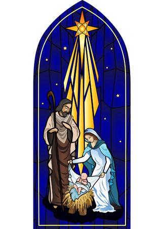 Vector illustratie van de heilige familie van de geboorte of de geboorte van Jezus geschapen zoals glas in lood