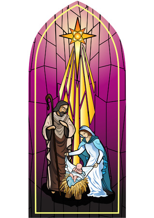 Vector illustration of the holy family of the nativity or birth of Jesus created as stained glass