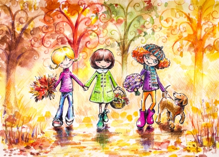 Three happy girls and dog on the walk in park  Picture created with watercolors and colored pencils  photo