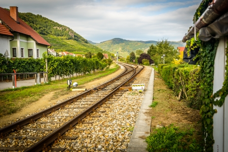 Country landscape with railway  Wachau region,Austria  photo