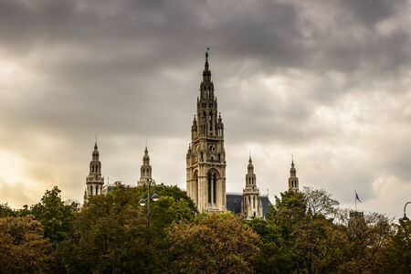 rathaus: City Hall of Vienna  Rathaus , Austria in cloudy day  Stock Photo