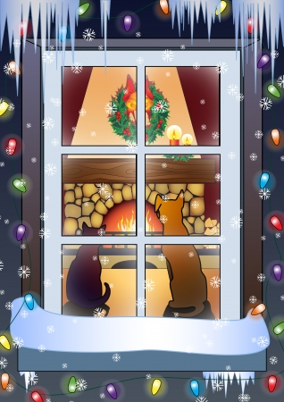 christmas fireplace: Christmas scene-dog and cat on the front of fireplace Vector illustration