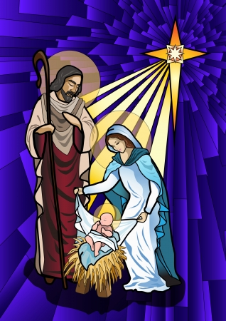 holy family: illustration of the holy family of the nativity or birth of Jesus created as stained glass