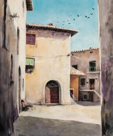 Original oil painting of Italian yard in Tuscan village San Gusme,Italy  photo