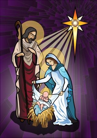 nascita di gesu: Illustrazione vettoriale della sacra famiglia del presepe o la nascita di Ges� creata come vetrate
