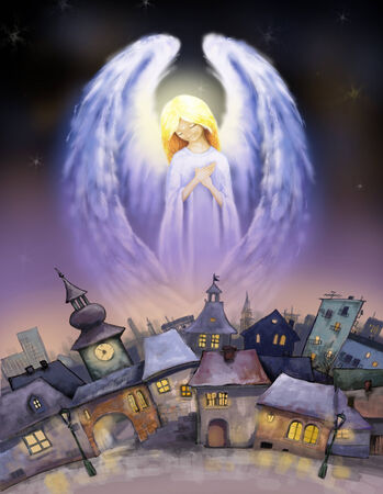 angel tree: Beautiful angel over a city at snowy Christmas night