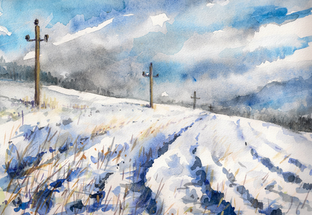 Winter rural landscape with field and dramatic sky Picture created with watercolors