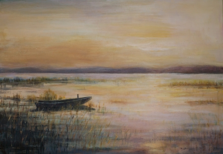 Landscape with boat on the lake during twilight Picture created with acrylic colors  photo