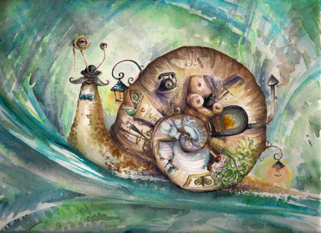 Snail with his house Picturecreated with watercolors  photo