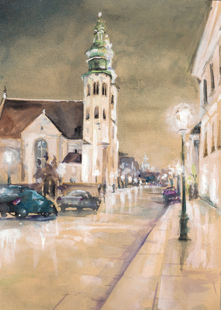 St  Andrew s Church on Grodzka Street by night - Krakow  Poland  Picture created with watercolors  photo