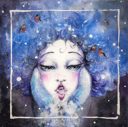 Cute girl with warm gloves blowing steam out of his mouth Painted with watercolors