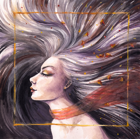 Portrait of beautiful woman with long waving hair Picture created with watercolors