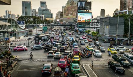 BANGKOK-FEBRUARY 12  Traffic moves slowly on crossroad on February 12, 2014 in Bangkok, Thailand  Annually an estimated 150,000 new cars join the already heavily congested streets of Bangkok   Editöryel