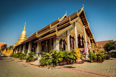 Wat Hari Phun Chai at Lamphun province in Thailand   Stock Photo