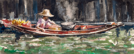 Woman selling a food on traditional floating market in Thailand Picture created with watercolors  photo