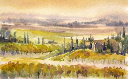 イタリアの水彩画の絵画の典型的なトスカーナの丘の国の風景
