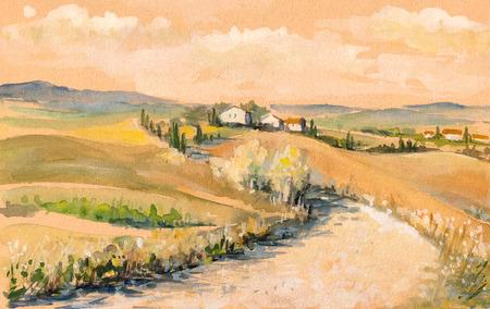 Land landschap met typisch Toscaanse heuvels in Italië Aquarellen schilderen Stockfoto